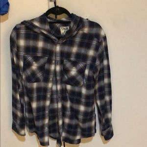 Aritzia TNA button down flannel with hood